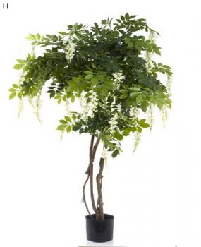 Artificial Wisteria Tree White 1.9mt on real timber stems with realistic foliage