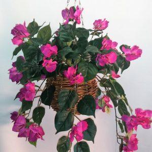 Artificial Bougainvillea Vine Bush Purple in cane hanging basket – single