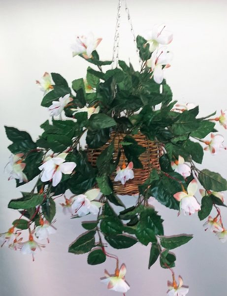 Artificial Fuchsia in cane hanging basket - single