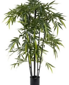 Artificial Bamboo Tree 1.5mt Black on natural timber poles