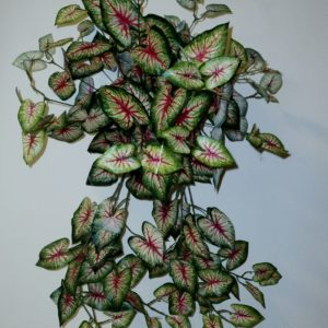 Artificial Caladium Vine in cane Basket with 180 realistic leaves