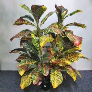 Artificial Croton Plant 90cm double x 56 realistic leaves