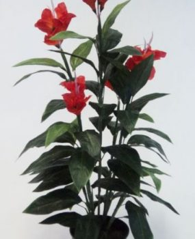 Artificial Canna Lily 1.2mt Red with realistic flowers and foliage