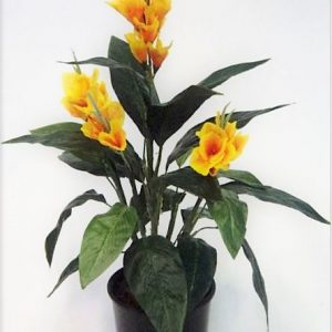 Artificial Canna Lily 60cm Yellow with realistic flowers and foliage