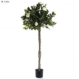 Artificial Rose Tree Topiary 1.4mt White