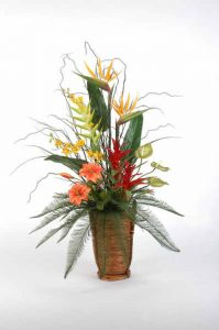 Artificial flower arrangement - Tropical In Tall Basket