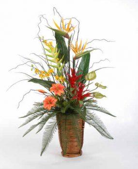 Artificial flower arrangement – Tropical In Tall Basket