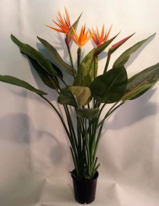 Artificial Bird of Paradise plant 1.2mt - 14 lvs 3 flwrs 1 bud