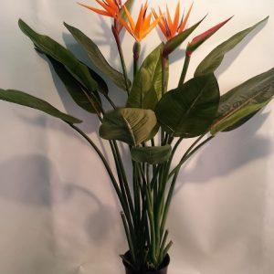 Artificial Bird of Paradise plant 1.2mt – 14 lvs 3 flwrs 1 bud