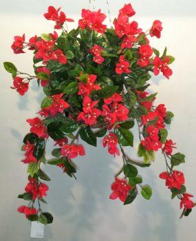 Artificial Bougainvillea Vine Bush Red in cane hanging basket – double