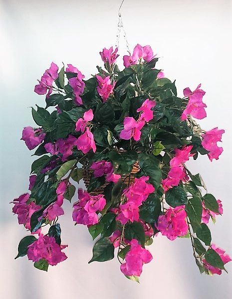 Artificial Bougainvillea Vine Bush purple double in cane hanging basket
