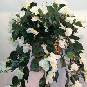 Artificial Bougainvillea Vine Bush WHITE in cane hanging basket – double