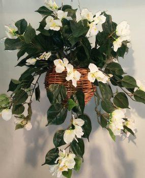 Artificial Bougainvillea Vine Bush WHITE in cane hanging basket – single