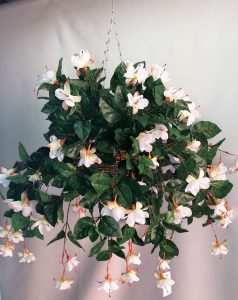 Artificial Fuschia in cane hanging basket - double