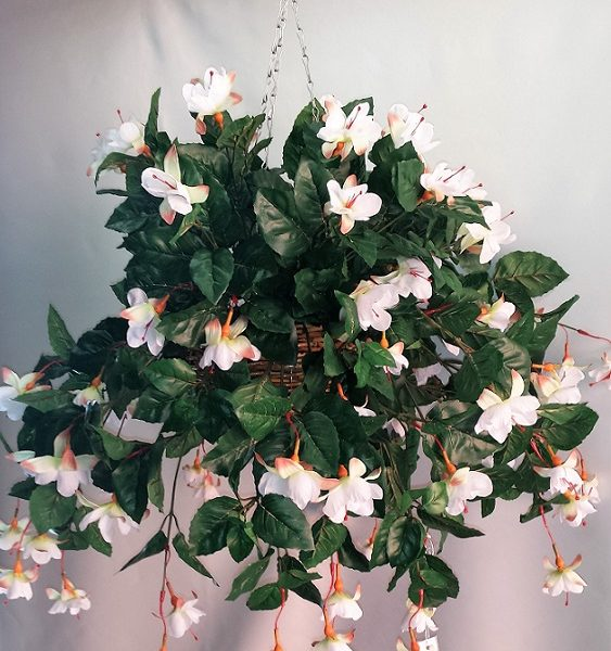 Artificial Fuchsia Vine in cane hanging basket - double