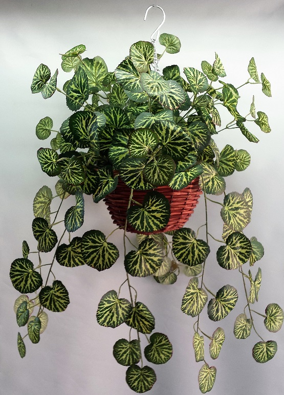 Artificial Saxifraga Vine in cane hanging basket single