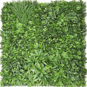 Artificial Wall Garden Panel Dark Green 1mt x 1mt – Leaves - Grasses