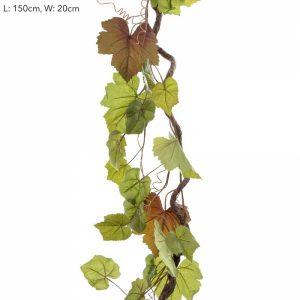 Artificial Grapevine Garland 180cm - realistic leaves - flexible vine